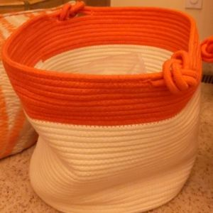 Cream and orange rope basket